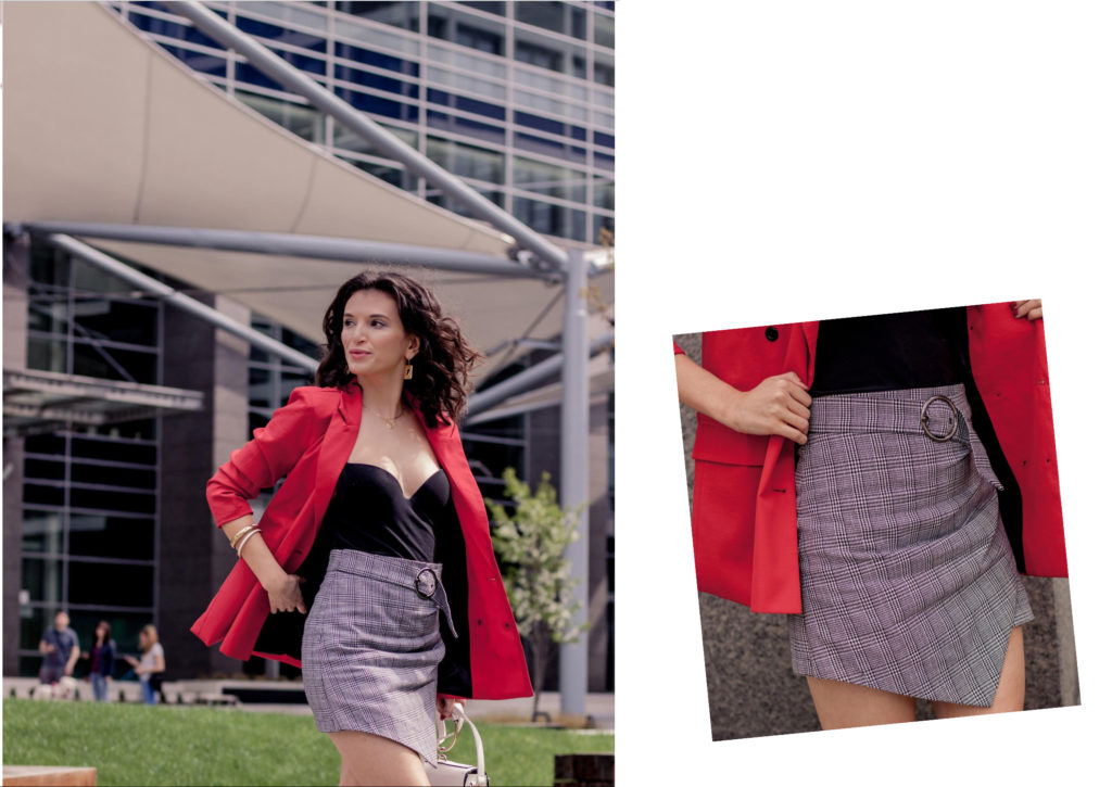 red blazer skirt